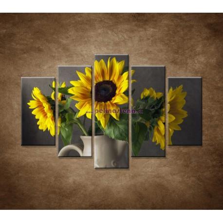 Obrazy na stenu - Slnečnica vo váze - 5dielny 150x100cm