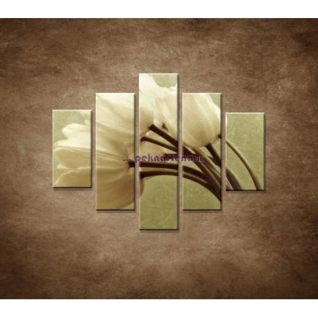 Obrazy na stenu - Kytica tulipánov - 5dielny 100x80cm