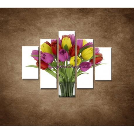 Obrazy na stenu - Tulipány vo váze - 5dielny 100x80cm