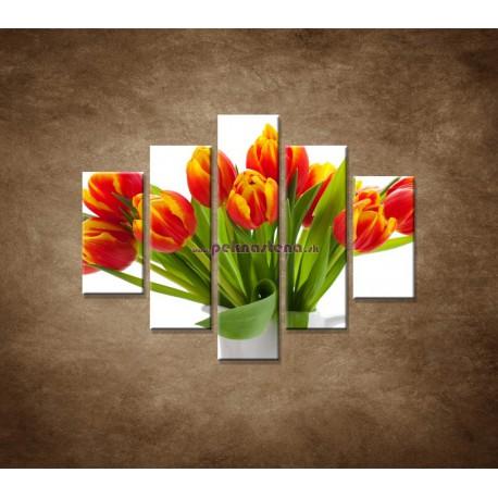 Obrazy na stenu - Červené tulipány - 5dielny 100x80cm