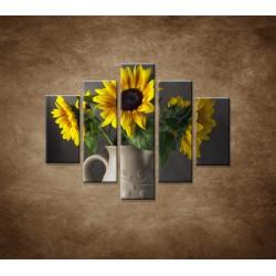 Obrazy na stenu - Slnečnica vo váze - 5dielny 100x80cm