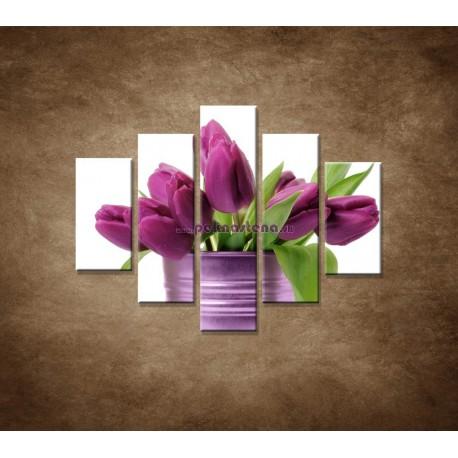Obrazy na stenu - Svieže tulipány - 5dielny 100x80cm