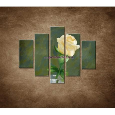 Obrazy na stenu - Maľovaná ruža - 5dielny 100x80cm