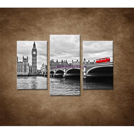 Obrazy na stenu - Červený autobus - 3dielny 75x50cm