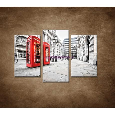 Obrazy na stenu - Červené telefónne búdky - 3dielny 75x50cm