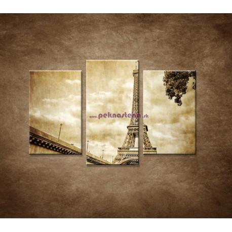 Obrazy na stenu - Výhľad na Eifelovu vežu - 3dielny 75x50cm