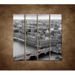 Čiernobiely Londýn - 4dielny 120x120cm