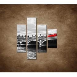 Obrazy na stenu - Červený autobus - 4dielny 80x90cm
