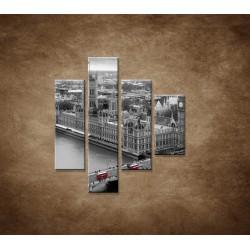 Obrazy na stenu - Čiernobiely Londýn - 4dielny 80x90cm