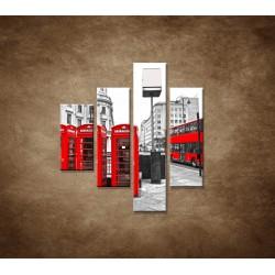 Obrazy na stenu - Londýn - 4dielny 80x90cm