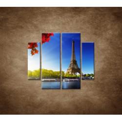Obrazy na stenu - Eifelova veža - 4dielny 100x90cm