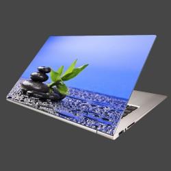 Nálepka na notebook - Bambusový výhonok na kameni