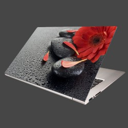 Nálepka na notebook - Červená gerbera a kamene