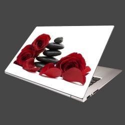 Nálepka na notebook - Čierne kamene a červené ruže