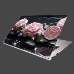 Nálepka na notebook - Kvety kamélie a kamene