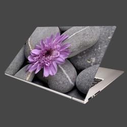 Nálepka na notebook - Sivé kamene s kvetom