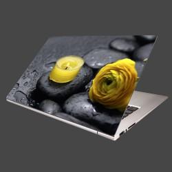 Nálepka na notebook - Žltá sviečka a kvet