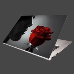 Nálepka na notebook - Žena s ružou