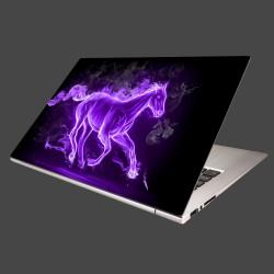 Nálepka na notebook - Fialový horiaci kôň