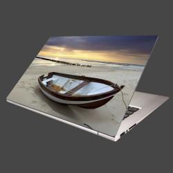 Nálepka na notebook - Loďka na pláži