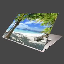Nálepka na notebook - Pláž s palmou