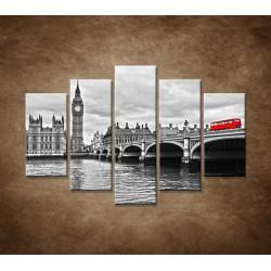 Obrazy na stenu - Červený autobus - 5dielny 150x100cm