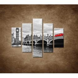 Obrazy na stenu - Červený autobus - 5dielny 100x80cm
