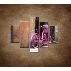 Obrazy na stenu - Ružový bicykel - 5dielny 100x80cm