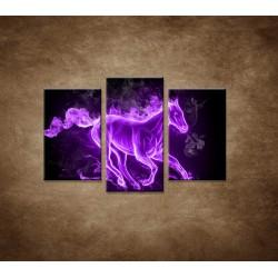 Obrazy na stenu - Fialový horiaci kôň - 3dielny 75x50cm
