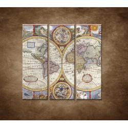 Obrazy na stenu - Stará mapa sveta - 3dielny 90x90cm