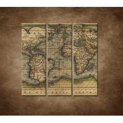 Obrazy na stenu - Antická mapa sveta r. 1570 - 3dielny 90x90cm