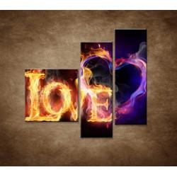 Obrazy na stenu - Horiace srdce - 3dielny 110x90cm
