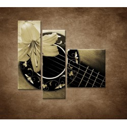 Obrazy na stenu - Gitara s kvetom - 3dielny 110x90cm
