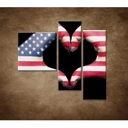 Orazy na stenu - Amerika v srdci  - 3dielny 110x90cm