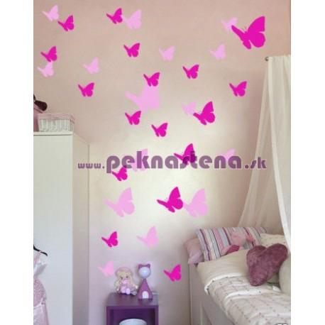 Nálepky na stenu - Motýlí kŕdeľ 64 kusov