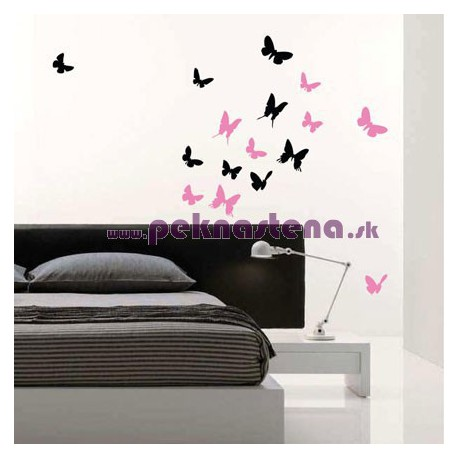 Nálepky na stenu - Motýli kŕdeľ - 14 kusov