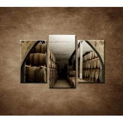 Obrazy na stenu - Sudy v pivnici - 3dielny 75x50cm