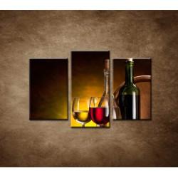 Obrazy na stenu - Víno so sudom - 3dielny 75x50cm