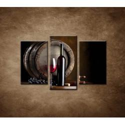 Obrazy na stenu - Fľaša červeného vína - 3dielny 75x50cm