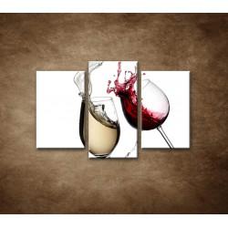 Obrazy na stenu - Biele a červené víno - 3dielny 75x50cm