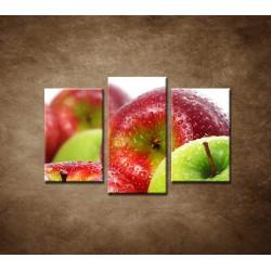 Obrazy na stenu - Červené a zelené jablká - 3dielny 75x50cm
