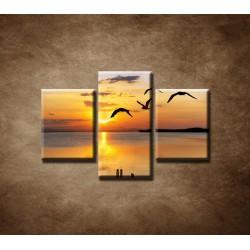 Obrazy na stenu - Západ slnka nad morom - 3dielny 75x50cm