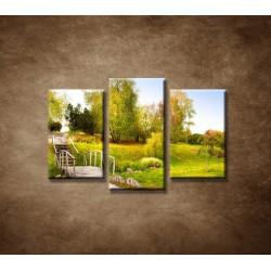 Obrazy na stenu - Zelený park - 3dielny 75x50cm