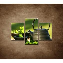 Obrazy na stenu - Kanvica s čajom - 3dielny 90x60cm