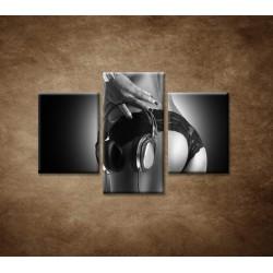 Obrazy na stenu  - Nahá DJ-ka - 3dielny 90x60cm