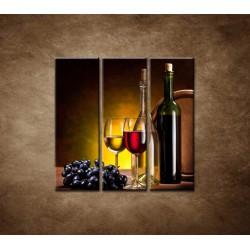 Obrazy na stenu - Víno so sudom - 3dielny 90x90cm