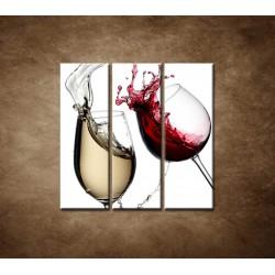Obrazy na stenu - Biele a červené víno - 3dielny 90x90cm
