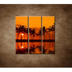 Obrazy na stenu - Červené zore nad morom - 3dielny 90x90cm