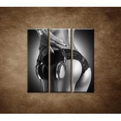 Obrazy na stenu - Nahá DJ-ka - 3dielny 90x90cm