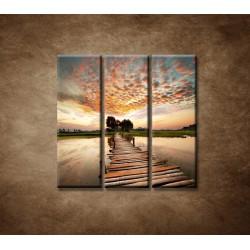 Obrazy na stenu - Západ slnka nad riekou - 3dielny 90x90cm